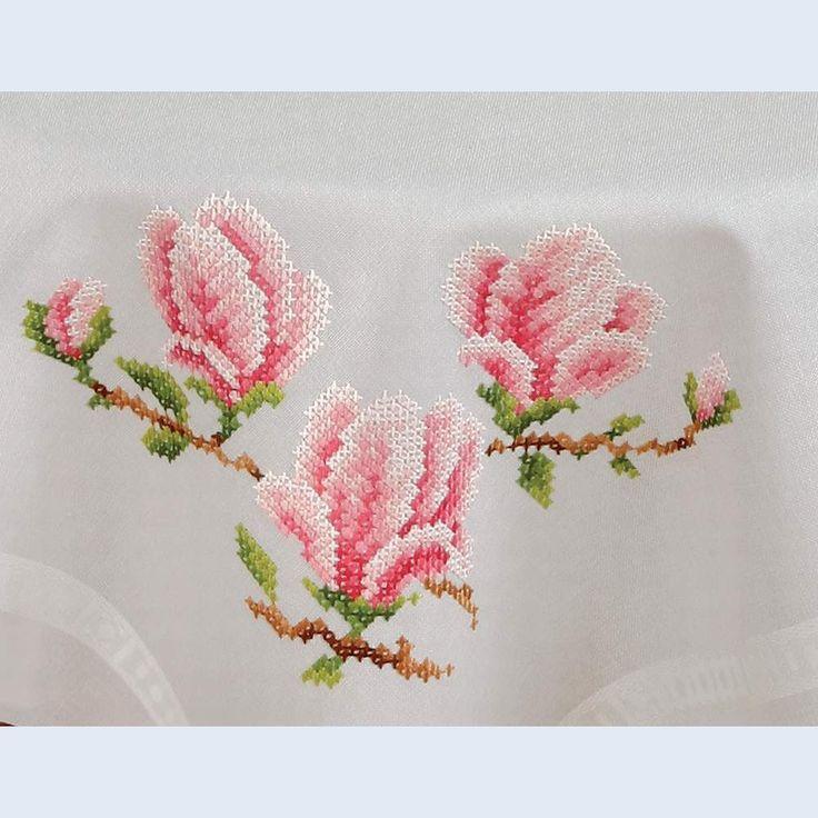 Magnolia - theenap - voorgedrukt handwerkpakket - Vervaco