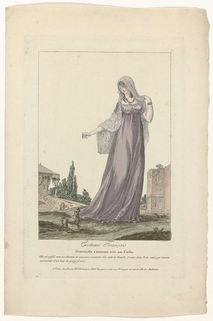 Costume Français, 1795, No. 7 : Demoiselle s'amusant avec son Carlin..., Anonymous, c. 1795