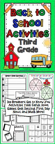 Back to School Activities (3rd Grade) This 50+ page pack is loaded with activities to start your year off right! There are ice breaker activities, get to know you activities, task cards, Scoot games, first day activities, and much more! Also available for 4th and 5th grades. $