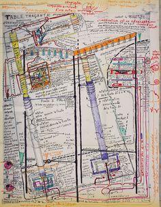 Jean Perdrizet,  sans titre (table traçante d'ordinateur imaginatif), 1972, ronéotype, stylo à bille et stylo-feutre sur papier plié, timbré et envoyé par courrier, 71 x 53 cm