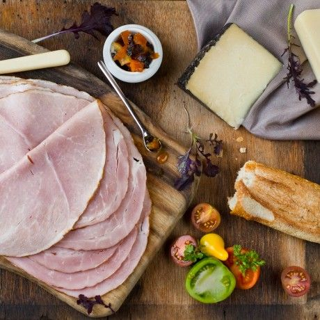 DON Sliced English Leg Ham and Cheese Platter with Heirloom Tomatoes and Pumpkin Marmalade Click the image to get the recipe!