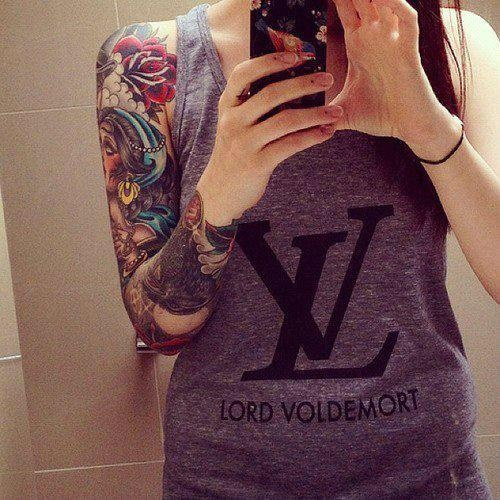 louis vuitton no lord voldemort haha i need this shirt tattoos pinterest inspiration. Black Bedroom Furniture Sets. Home Design Ideas