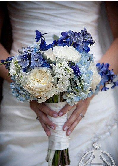 blue- peony, delph, hydrangea, veronica