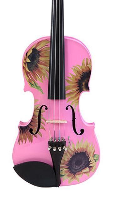 Sunflower Delight Pretty Pink Violin http://www.stringplayercentral.com Rozanna's Designer Violins                                                                                                                                                     More