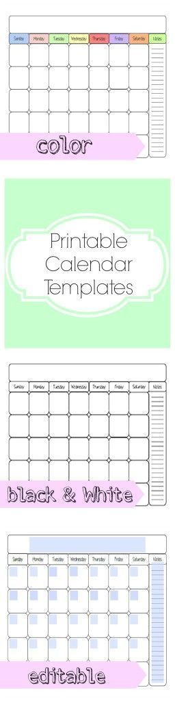 Free printable calendar template. Can be used for any month in 2015 and beyond. Includes a cute blank color option, a black and white option, and an editable option. Can be used for weekly planning, for binder, school teacher lesson plans, monthly planning, and much more.
