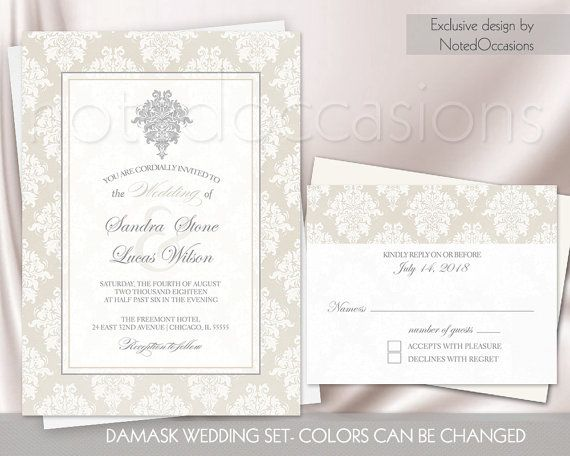 printable wedding invitation set vintage chic damask wedding color options digital wedding invitations - Cheap Wedding Invitations Sets