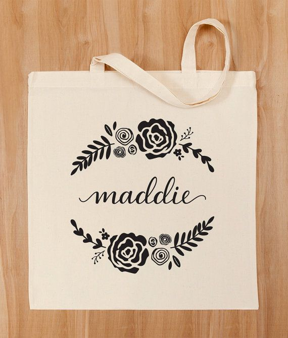 Personalized Tote Bag Custom Calligraphy by PaperAndQuillDesign