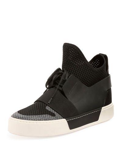BALENCIAGA Men'S Multi-Material High-Top Trainer Sneaker, Black. #balenciaga #shoes #