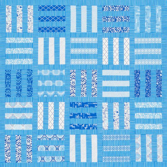 Bolts of Blue project from allpeoplequilt.com using Moda fabrics by Deb Strain