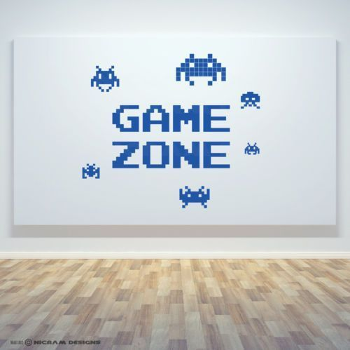 Details about Game Zone Retro Gamer Room Wall Art Vinyl Invaders Decal Door Sticker G2 – – #GamerRoom|DIY – – #GamerRoom|DIY