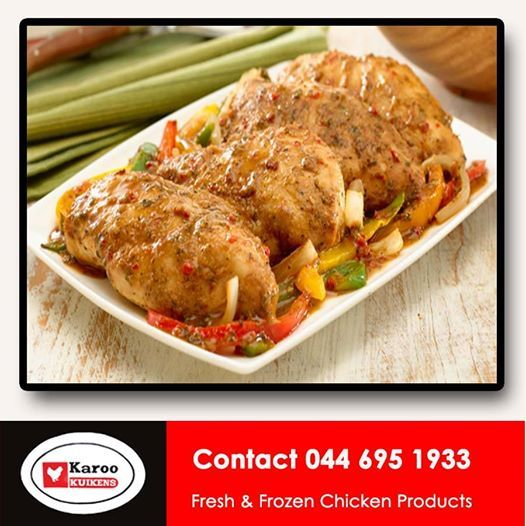 Check out this delicious recipe for our fresh chicken simply click http://on.fb.me/1dLg9Ba Karoo Kuikens are your poultry specialists and stock all cuts of fresh and frozen Chicken. #chickenrecipes #easymeals #chickendinners