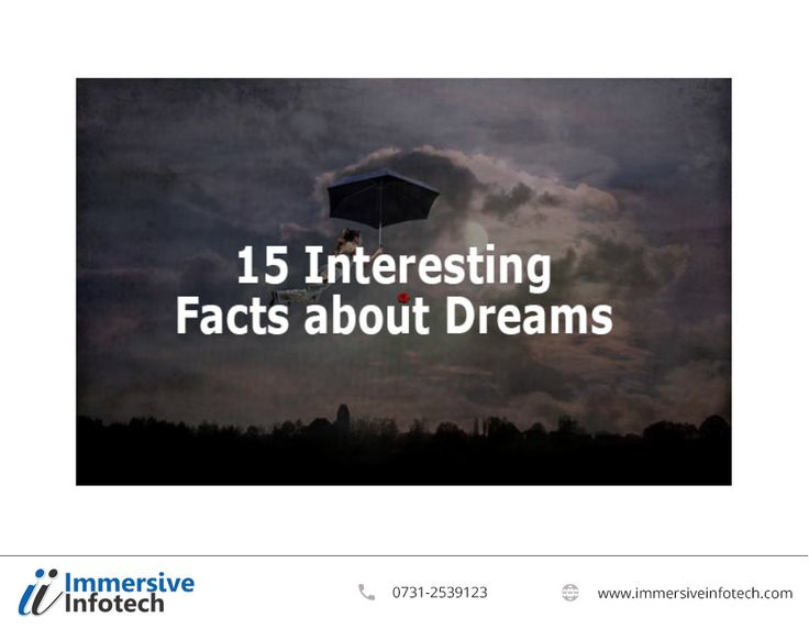 15 Interesting Facts About Dreams  1. You Forget 90% of Your Dreams. 2. Blind People also Dream. 3. Everybody Dreams. 4. In Our Dreams We Only See Faces That We already Know. 5. Not Everybody Dreams in Color. 6. Dreams are Symbolic. 7. Emotions. 8. You can have four to seven dreams in one night. 9. Animals Dream Too. 10. Body Paralysis. 11. Dream Incorporation. 12. Men and Women Dream Differently. 13. Precognitive Dreams. 14. If you are snoring, then you cannot be dreaming.