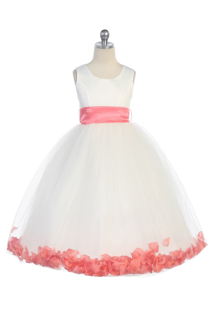 Coral Satin & Tulle Flower Girl Dress with Petals & Sash G2570CR $39.95 on www.GirlsDressLine.Com