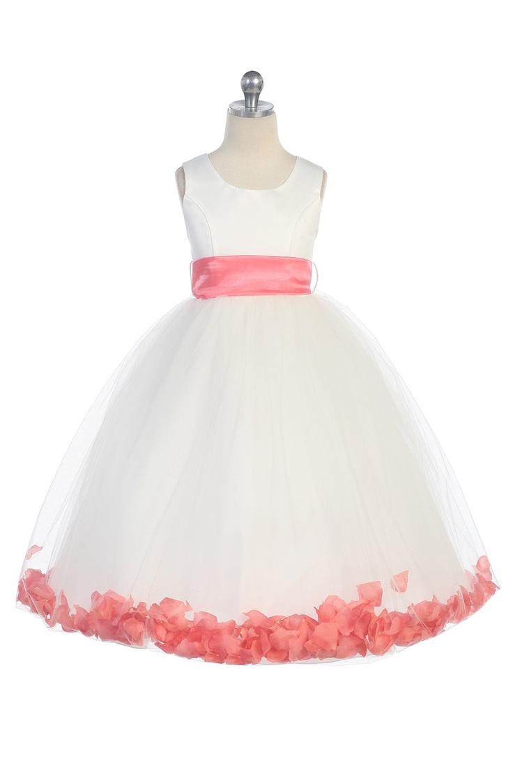 Coral Satin & Tulle Flower Girl Dress with Petals & Sash G2570CR $39.95 on www.GirlsDressLine.Com