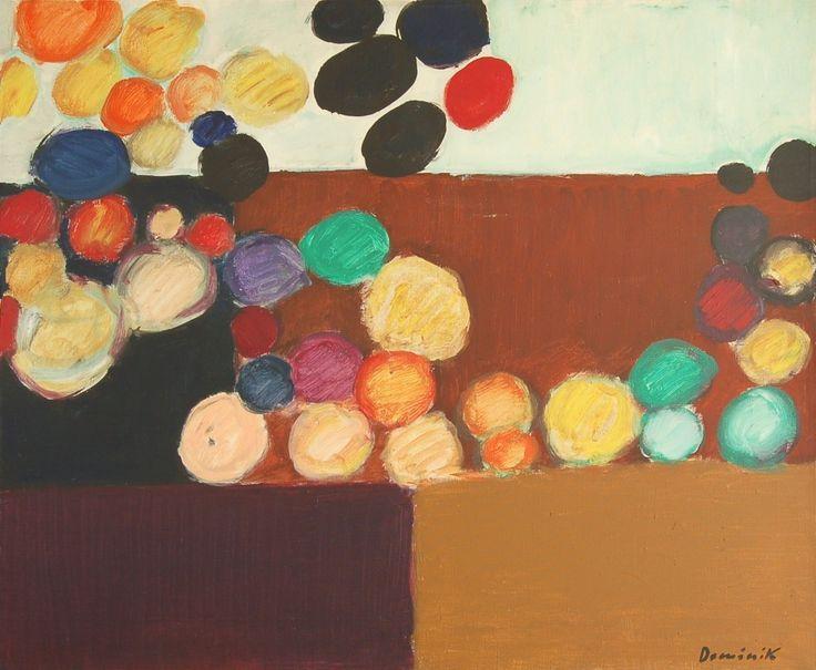 Kompozycja, 1973, olej na płótnie, 81 x 100 cm