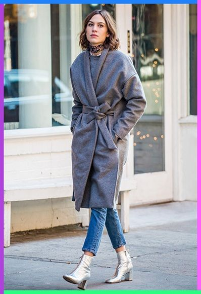 Alexa Chung shows off the cosy-cool belted coat to boss winter in