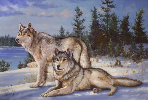 Картины (живопись) : Волки на фоне зимнего пейзажа