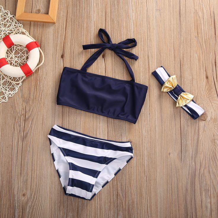3Pcs Baby Bikinis Set Infant Kids Baby Girls Swimsuit Swimwear Bathing Suit Tankini Bikini Set-in Bikinis Set from Sports