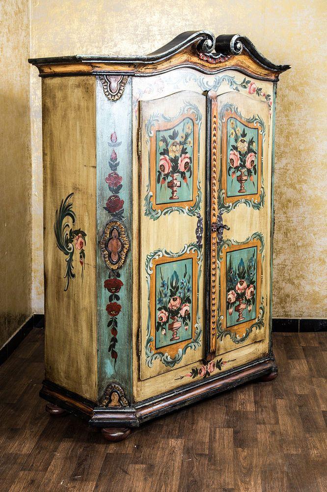Spectacular Bemalter Bauernschrank Mobiliar u Interieur eBay