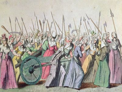 The women's march to Versailles in demand of bread on October 5 1789