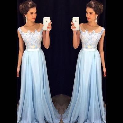 AHP009 A-line Lace Appliqued Bodice Light Blue Chiffon Skirt Prom Dress