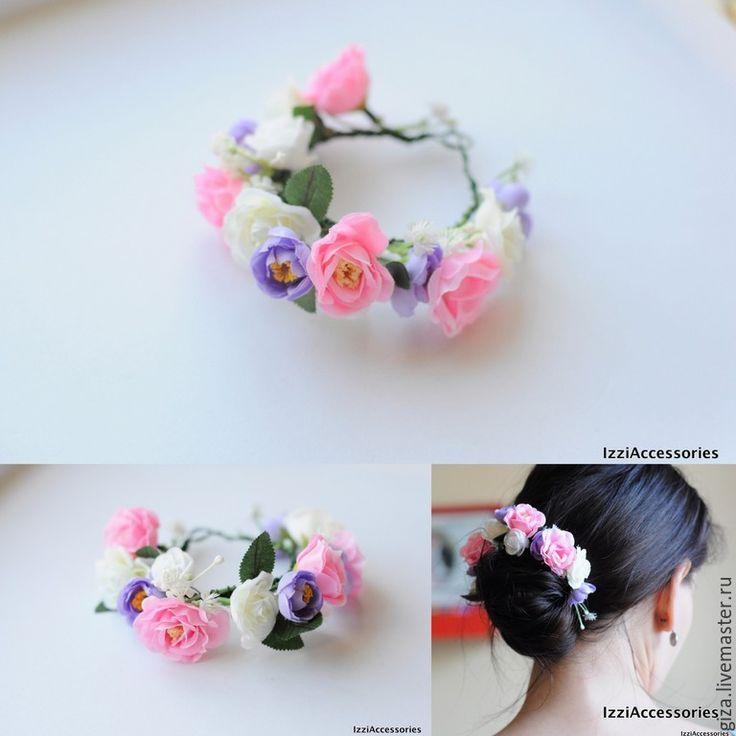 Купить Украшение для волос Полевые цветы, для пучка - голубой, пучок, для пучка, свадебные аксессуары