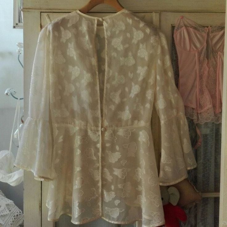 Shabby chic vintage bianco Chemise camicia giacca woman
