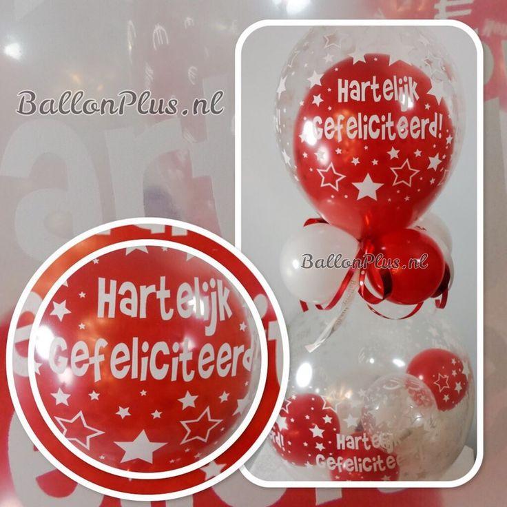 Kado - Cadeau Ballon - met € / Geld ballonnen - Rood/Wit - van BallonPlus