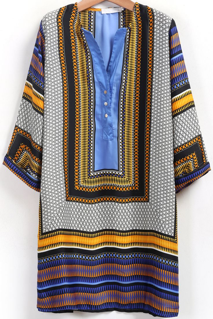 Shop Blue V Neck Tribal Print Shift Dress online. SheIn offers Blue V Neck Tribal Print Shift Dress & more to fit your fashionable needs.