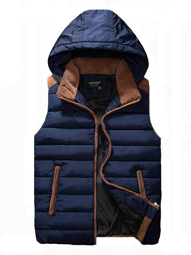 Winter Hooded Thick Sleeveless Zipper Couples Warm Coat at Banggood