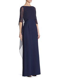 Teri Jon by Rickie Freeman - Scuba Gown Silk Chiffon Overlay Dress