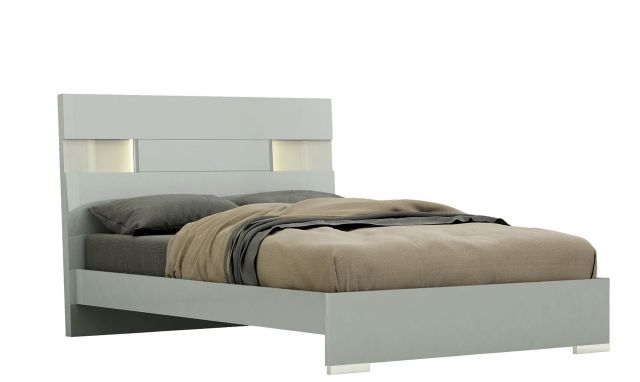 Marvel Bedframe And Slats In Cool Grey High Gloss Lacquer With