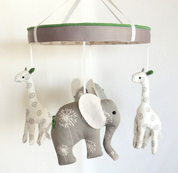 Hey, I found this really awesome Etsy listing at http://www.etsy.com/listing/159216083/grey-green-elephant-giraffe-baby-mobile