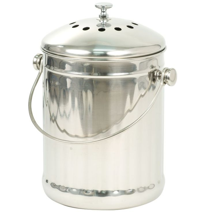 Stainless Steel Compost Pail (1 Gallon) at www.GrowOrganic.com