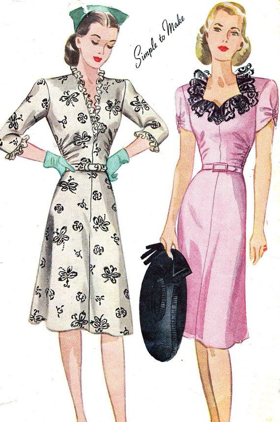 Vintage Sewing Pattern 1940s Simplicity 1026 by paneenjerez, $18.00