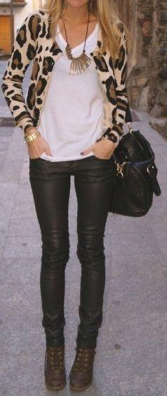 leopard cardigan, skinny black jeans