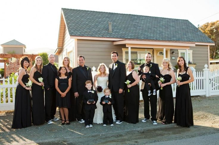 all black bridal party.