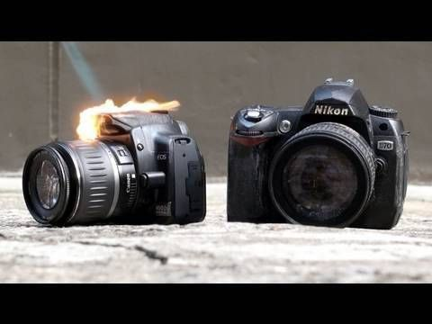 Nikon D90 vs Canon 550D Durability Test (Part 1)* - would you set fire to yours?