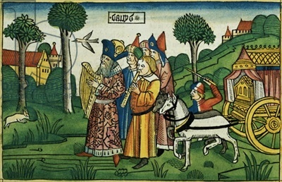 2 Samuel 6 1-5 David brings the Ark to Jerusalem, from the 'Nuremberg Bible (Biblia Sacra Germanaica)' (coloured woodcut), 1483