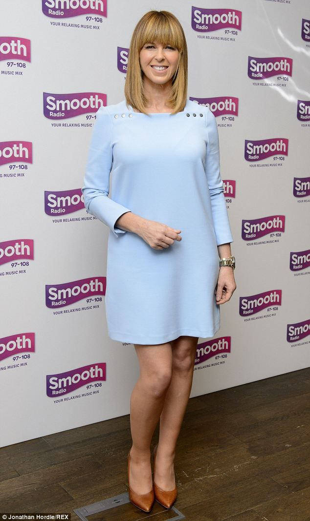 Kate Garraway (46) contrasted her pale blue frock with some orange heels. http://www.dailymail.co.uk/tvshowbiz/article-2566874/Kate-Garraway-stunning-azure-blue-shift-dress-celebrates-joining-Smooth-Radio.html