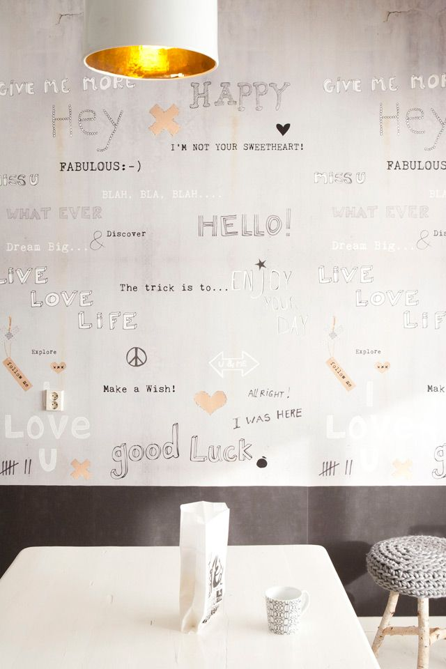Wallpaper with concrete look and lovely words by Onszelf.com