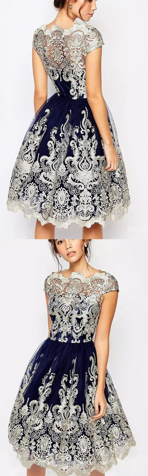 Cheap Homecoming Dresses, Short Homecoming Dresses Cheap, Homecoming Dresses Cheap, Short Homecoming Dresses, Cheap Short Homecoming Dresses, Lace Homecoming Dresses, A Line dresses, Navy Lace dresses, Short Sleeve Dresses, A line Homecoming Dresses, Navy Homecoming Dresses, Short Homecoming Dresses With Lace Cap Sleeve Knee-length