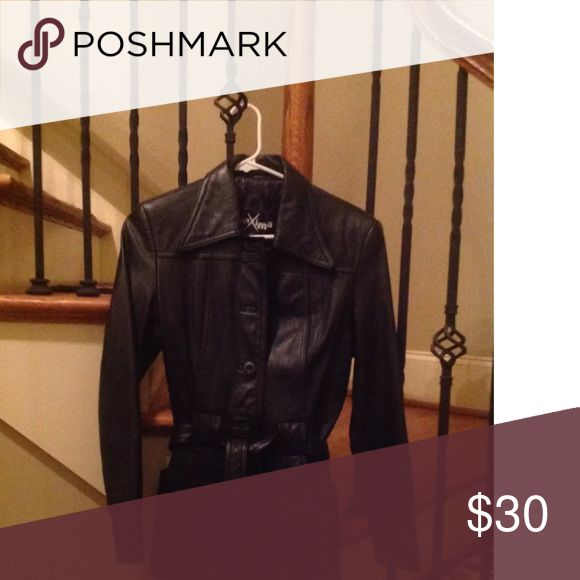 Womens Leather Jacket XS Womens XS Black Leather Coat in Excellent, like new cond. Button up with pockets.  Smoke free home. Maxima Jackets & Coats Trench Coats