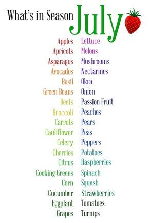 A handy guide to the fruits and vegetables in season throughout the month of July!