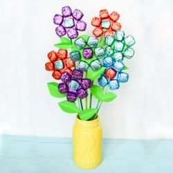 A cheerful bouquet made of Dove chocolates--best of both worlds for Mother's Day or a Teacher Appreciation gift!