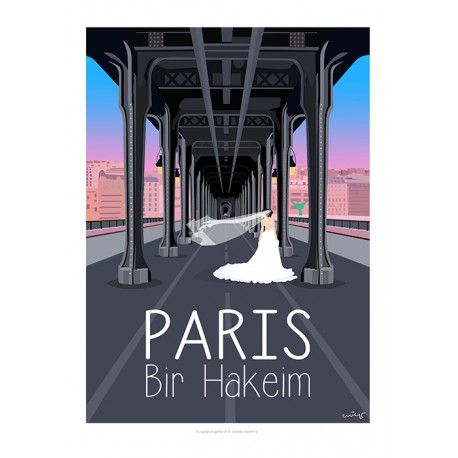 Paris - Bir Hakeim  Affiche de Collection, signée et numérotée Style : ancien, minimaliste, design, scandinave, colorée, publicité, pub ancienne, moderne, contemporrain, artwork, Eric Garence Sujet : Côte d'Azur, village, provence, French Riviera, mer, sea, summer, travel, sunset, sunrise, paris, Eiffel Tower, by night, bir hakeim bridge, france, romantic, montmartre, tertre, painting, cats, champs elysées, cars, moon, glamour, chic, 75015, Wedding, mariage,
