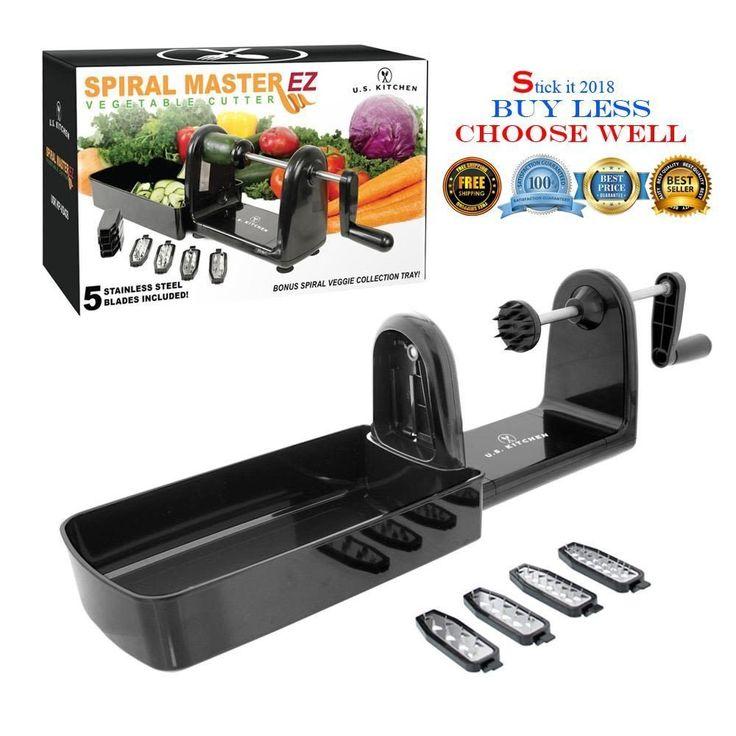 Compact Spiral Slicer Vegetable Cutter 5 Blades Veggie Pasta Maker Spiralizer #USKitchenSupply