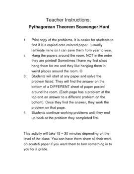 pythagorean theorem scavenger hunt pdf