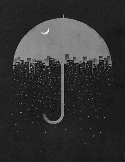 Rain, illustration, city scape,
