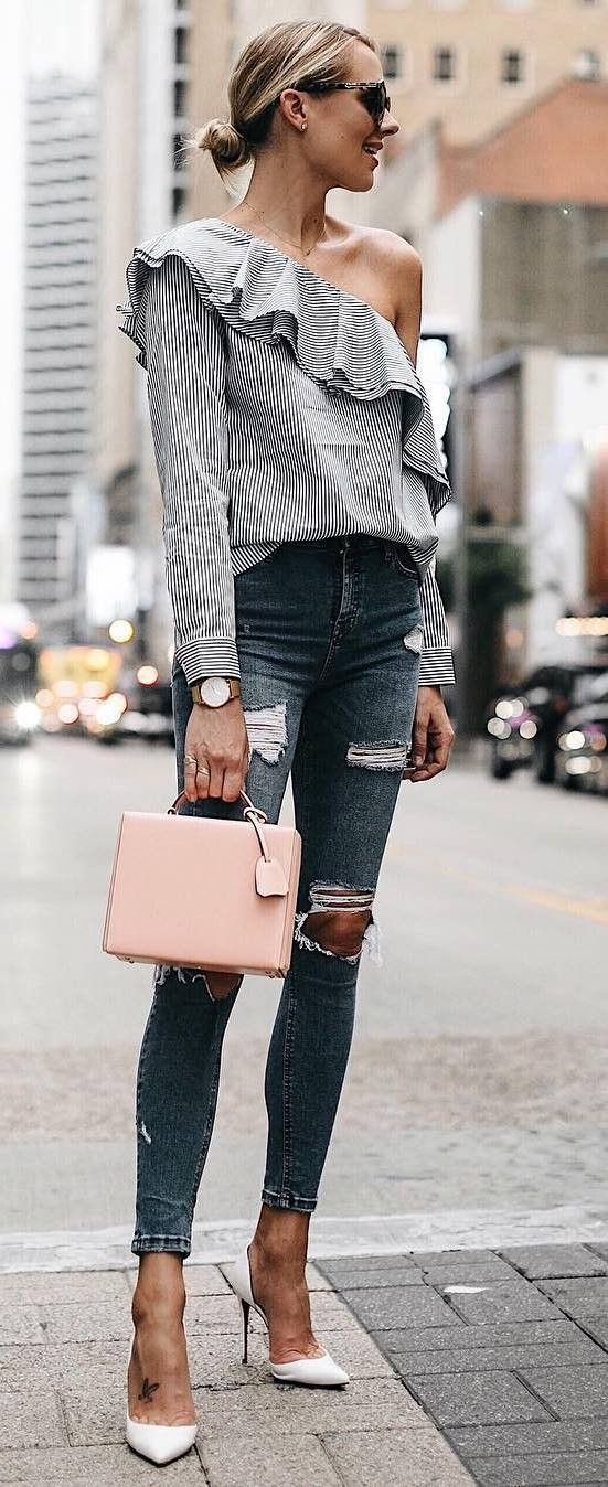 elegant outfit idea : one shoulder blouse + bag + rips + heels